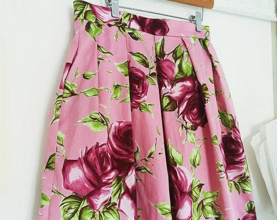 PINK PLEATED SKIRT, floral print skirt, garden party skirt, flowered skirt, spring party skirt, printed prom skirt, pink roses summer skirt
