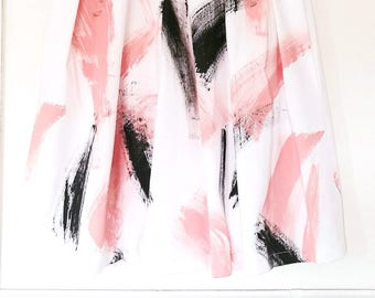 HANDPAINTED PLEATED SKIRT, white formal skirt, rehearsal dinner skirt, pink black white printed skirt, garden party skirt, art print skirt