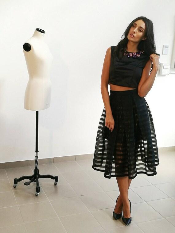 BLACK EVENING SKIRT, tea length tulle skirt, long sheer skirt, pleated midi skirt, black striped skirt, black formal skirt, black full skirt