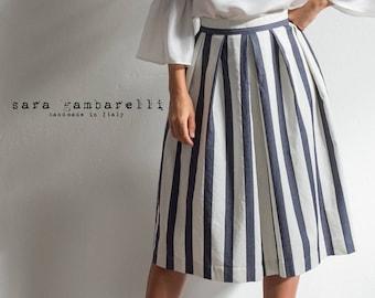 BLUE and white STRIPED SKIRT, pleated skirt, denim skirt, tea length skirt, spring summer skirt, made in Italy