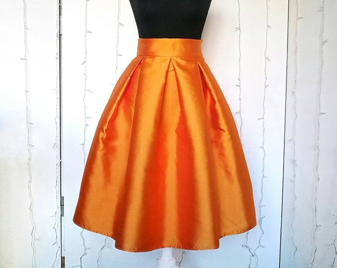 Featured listing image: ORANGE SATIN SKIRT