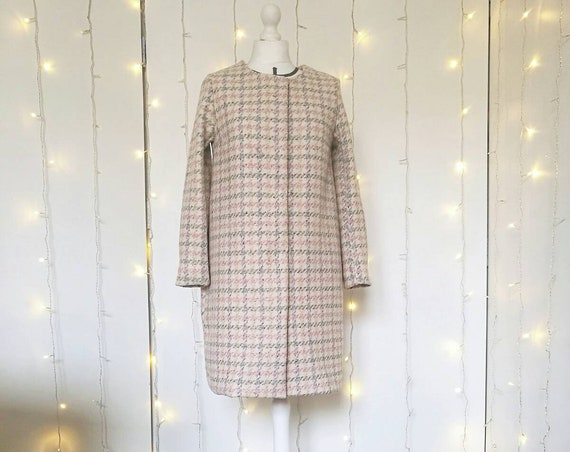 WHITE and pink 60s style plaid FORMAL OVERCOAT
