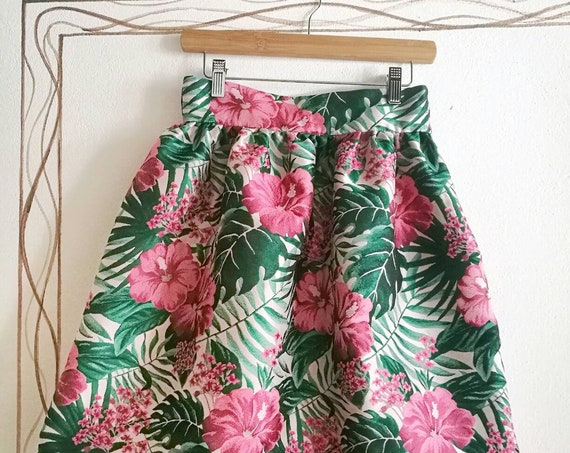 TROPICAL PARTY SKIRT, green and pink high waisted ruffled skirt