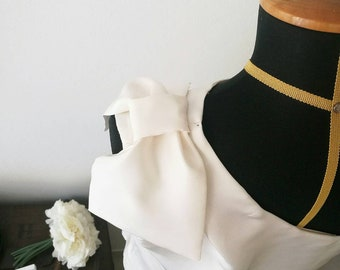 ONE SHOULDER TOP, white silk top with bow, white bow top, destination wedding top, honeymoon top, evening top, silk blouse, white party top