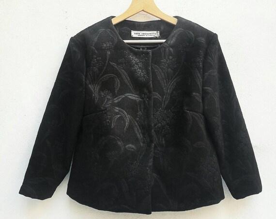 BLACK BOLERO JACKET, black midriff jacket, wool short jacket with 3/4 sleeve, black formal jacket, unlined women jacket for autumn
