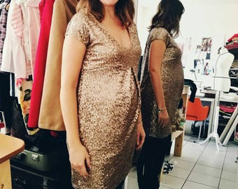 PREGNANT GOLD DRESS,  maternity evening dress, baby shower dress, photoshoot maternity dress, New Year's Eve pregnancy dress, pregnant bride
