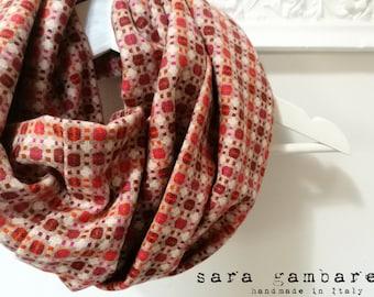 BOHO INFINITY SCARF. Orange beige scarf. Infinity loop scarf. Geometric pattern scarf. 70s circle scarf. Multicolor women scarf. Gift idea