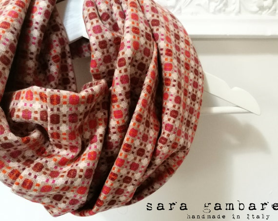 BOHO INFINITY SCARF. Orange beige scarf. Infinity loop scarf. Geometric pattern scarf. 70s circle scarf. Multicolor women scarf. Gift idea
