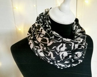 ART DECO SCARF, black satin foulard infinity scarf for women
