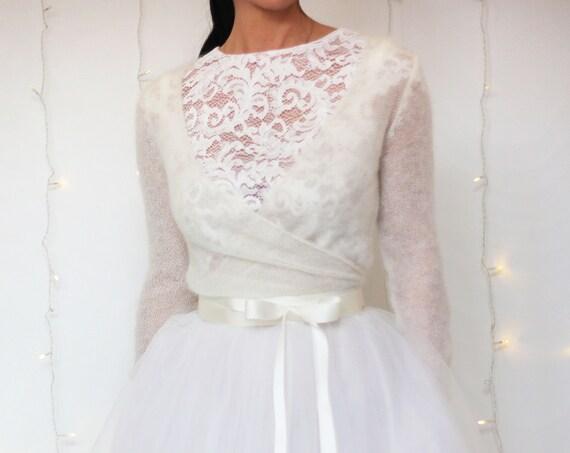 BRIDAL COVER UP, long sleeve coverup, ivory wedding bolero, mohair bridal cardigan, white shrug, knit wedding shrug, white wool coverup