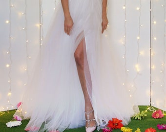 WEDDING TULLE SKIRT, white tulle skirt with split, bridal separates, alternative wedding dress, long tulle bridal skirt, white tutu skirt