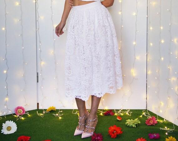 LACE WEDDING SKIRT, tea length bridal skirt, white lace skirt, white pleated skirt, wedding separates skirt, skirt for short wedding dress