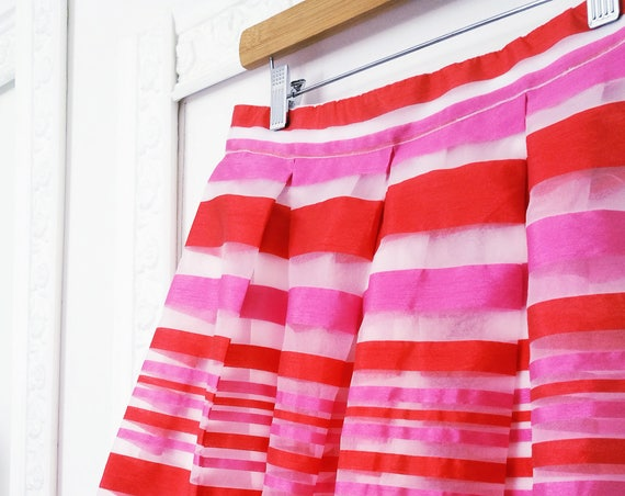 STRIPED MAXI SKIRT, fuchsia long skirt, pink pleated skirt, striped organza skirt, red evening skirt, floor length skirt, sheer maxi skirt