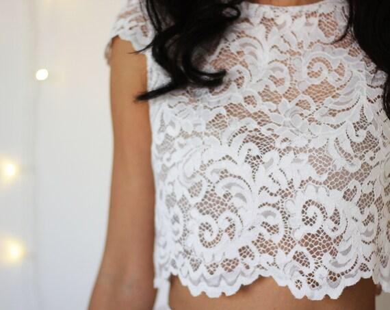 BRIDAL LACE TOP, cap sleeve lace crop top, bridal separates, lace wedding top, two piece alternative wedding dress, sheer crop top for bride
