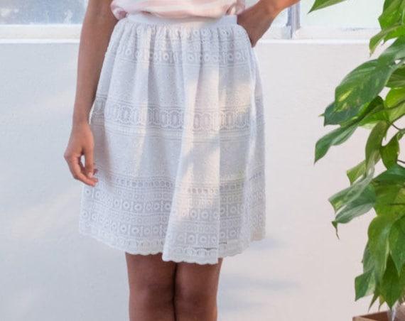 WHITE LACE SKIRT, boho wedding skirt, bohemian white skirt, white cotton lace skirt, romantic summer skirt, ruffled skirt, made in Italy