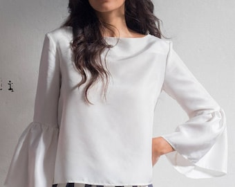 SAMPLE SALE, bell sleeve top,  white silk blouse with sleeves, bell sleeve crop top, silk crop top, 70s style top