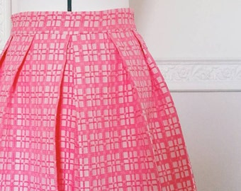 PINK PLEATED SKIRT, bridesmaid pleated skirt with pockets, 1950s style skirt, pink party skirt, jacquard skirt, pink checkered skirt