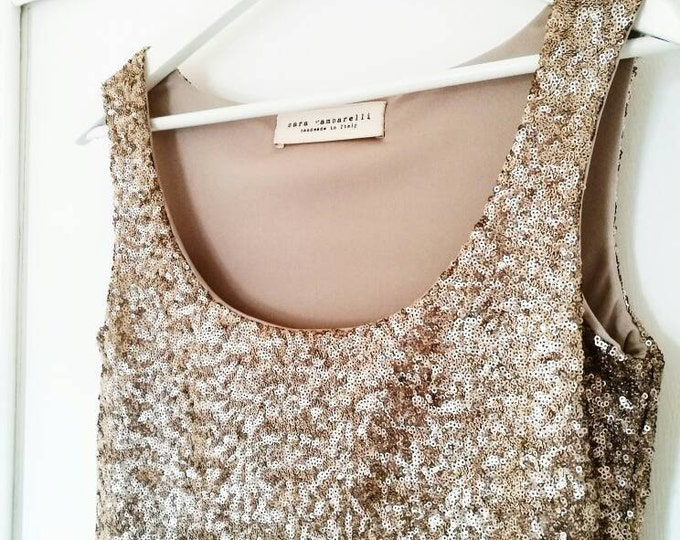 Featured listing image: GOLD SEQUIN TOP, sequin tank top, gold evening top, party tank top, gold party top, sequined top, gold tank top, New Year's Eve sequined top