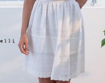 SAMPLE SALE, white lace skirt, boho wedding skirt, bohemian white skirt, romantic summer skirt, ruffled skirt, made in Italy