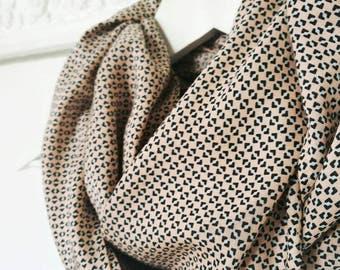 BLUSH PINK SCARF, micro pattern infinity scarf, geometric print scarf, printed infinity scarf, pink circle scarf, pale pink spring scarf