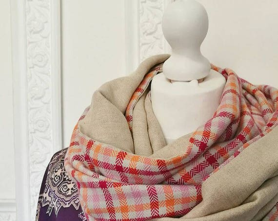 PLAID INFINITY SCARF, beige tweed chunky scarf, check cowl scarf, double face infinity scarf, beige circle scarf, gift idea for women