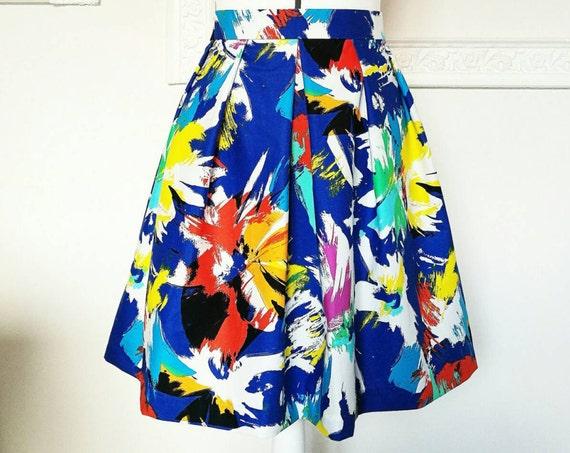 COLORFUL PRINTED SKIRT, pleated skirt with pockets, art print skirt, blue white red multicolor skirt, summer skirt, printed cotton skirt