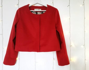 RED BOLERO JACKET out of kashmir blend fabric