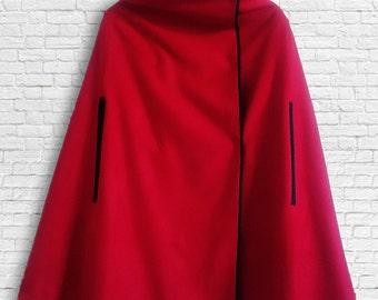 REVERSIBLE WOOLEN CAPE for women, available in red, camel and grey