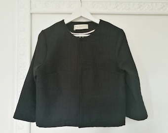 Black short jacket, cotton tweed jacket, black formal jacket, three quarter sleeve jacket, unlined jacket