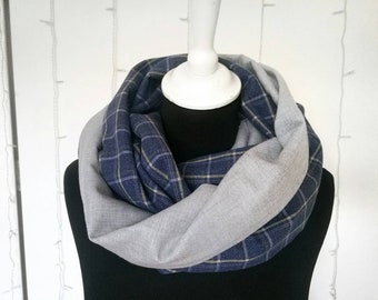 BLUE and GREY PLAID infinity scarf