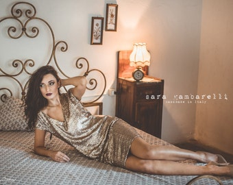 GOLD SEQUIN DRESS, New Year's Eve sequined dress, A line evening dress, gold tunic dress, V neck short dress, gold party dress, shift dress