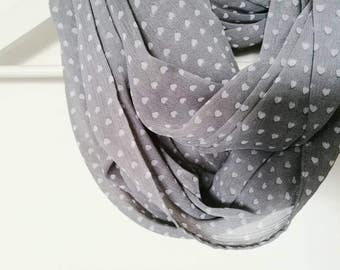 SHEER INFINITY SCARF, heart printed scarf, grey and white scarf, spring cowl scarf, women accessories
