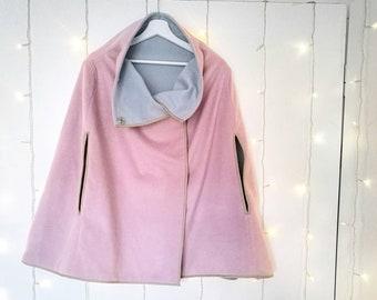 KASHMIR BLEND CAPE for women, pink and cerulean