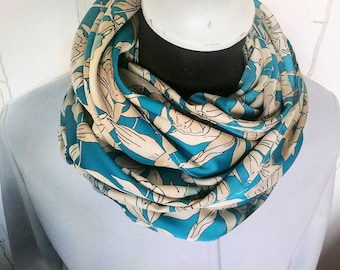 BLUE SATIN SCARF, floral print infinity scarf for women