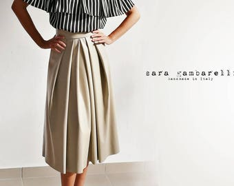 FAUX LEATHER SKIRT, beige pleated midi skirt, ecological leather skirt, eco leather skirt, taupe pleated maxi skirt