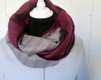 GREY and BURGUNDY INFINITY scarf