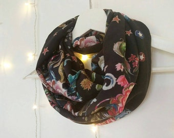 BLACK FLORAL SCARF, printed viscose infinity scarf for women