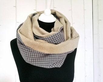 BEIGE and PURPLE PLAID infinity scarf