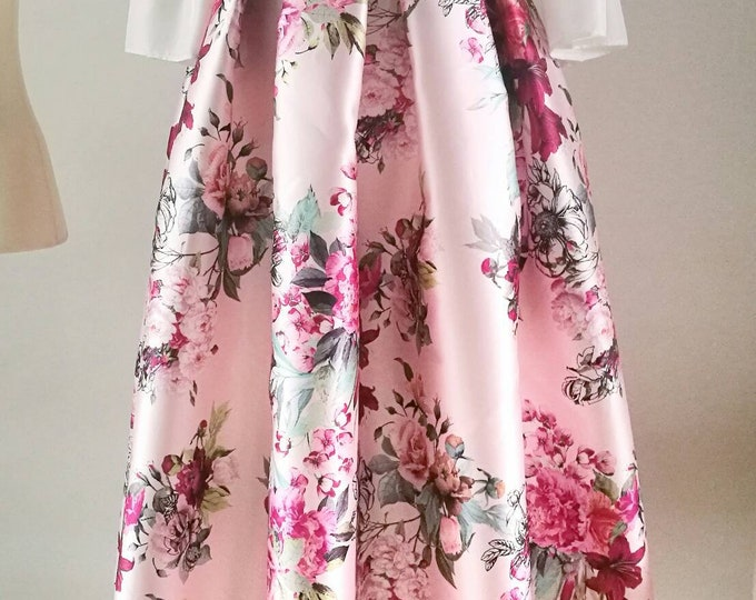 Featured listing image: PINK PLEATED SKIRT, colorful floral print tea length formal skirt