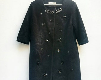 BLACK FORMAL COAT, woolen embellished overcoat with 3/4 sleeves