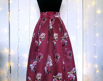 "BURGUNDY PLEATED SKIRT, ""Florence"" pattern"