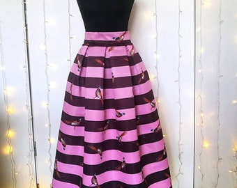 "STRIPED PLEATED SKIRT, ""Pheasants"" pattern"