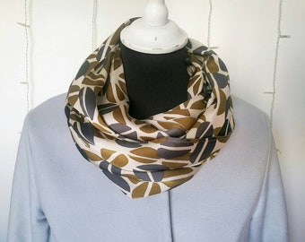 COFFEE BEANS printed SCARF, ivory and green satin foulard infinity scarf for women