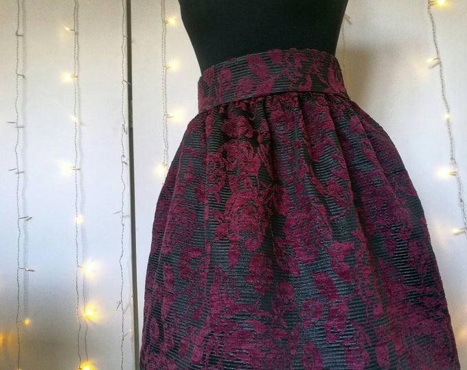 Featured listing image: BLACK and BURGUNDY jacquard brocade SKIRT