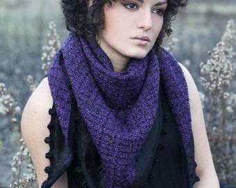 BOHO PURPLE SCARF, violet and black scarf, boho fringed scarf, purple fringed shawl, purple scarf, woolen scarf