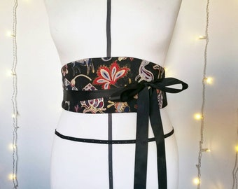 REVERSIBLE OBI BELT, wrap around belt, black waist belt, gift for women, obi wrap sash, ribbon belt
