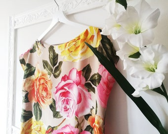 FLORAL TUNIC DRESS in pure silk fabric