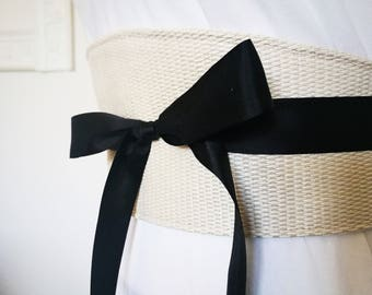 BEIGE OBI BELT, ribbon sash, wrap around belt, sash belt, gift for women, raffia belt, straw belt with ribbon, obi wrap sash, ribbon belt