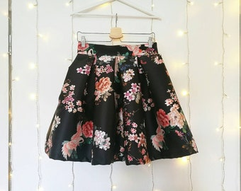 BLACK PLEATED SKIRT, floral cocktail skirt, flower print skirt, japanese pleated skirt, black party skirt, high waisted elegant skirt