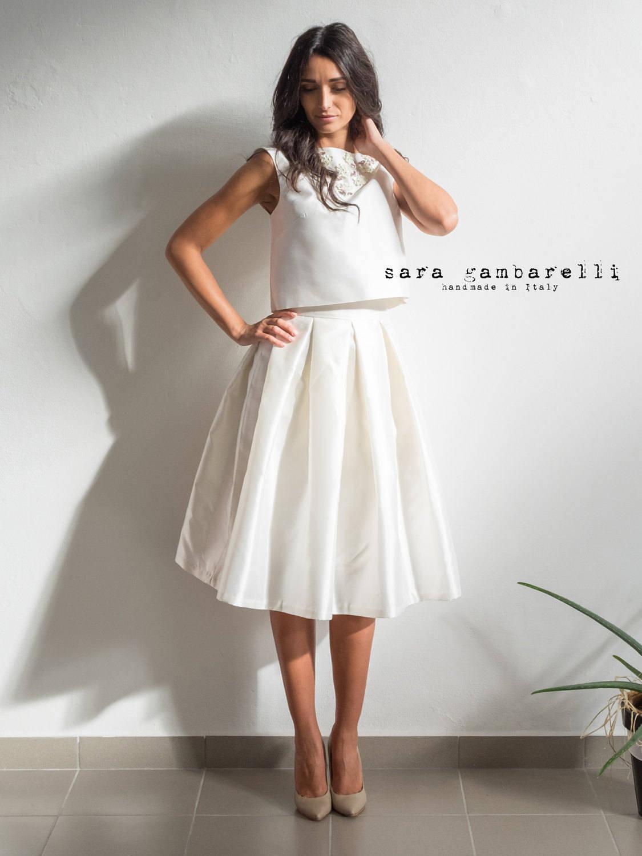 ALTERNATIVE WEDDING DRESS, tea length wedding dress, ivory bridal ...